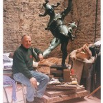 James Butler in his studio with the Stratford Jester